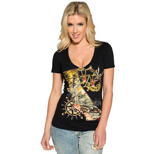 CORY NORRIS Burnout Top Black Sullen Angels Tee Shirt