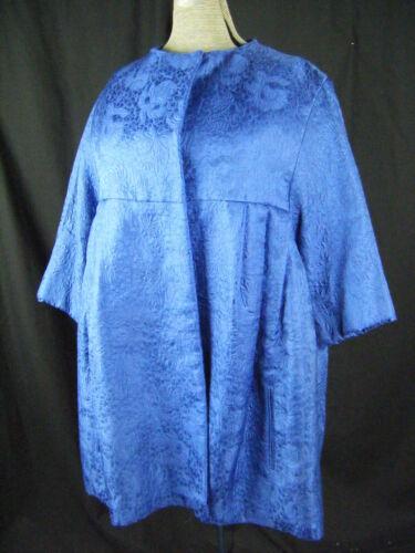 BEN ZUCKERMAN Vtg 50s Royal Blue Floral Brocade Sw