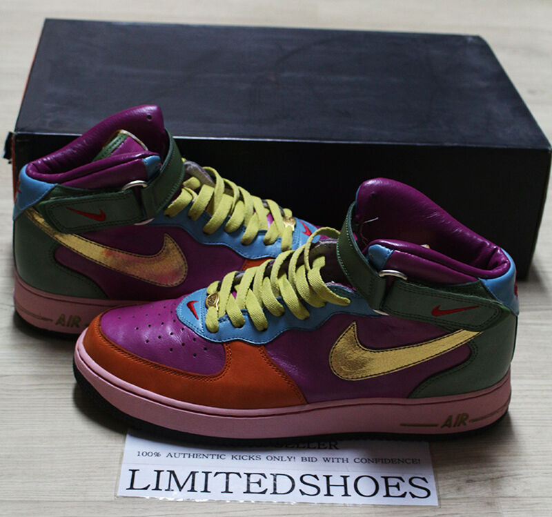 NIKE AIR FORCE 1 MID ID MULTI COLOR US 10.5 Iridescent high supreme tisci flax