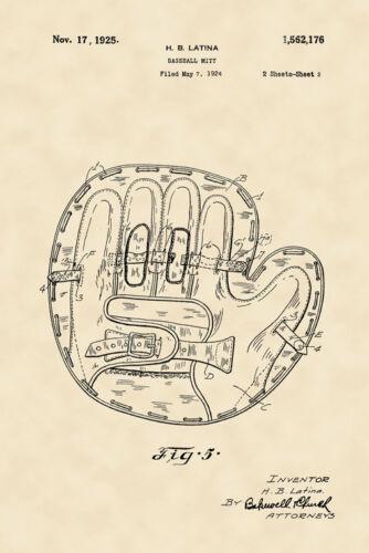 Baseball Mitt Gloves American Game 1925 Design Art Vintage Poster Repro FREE SH