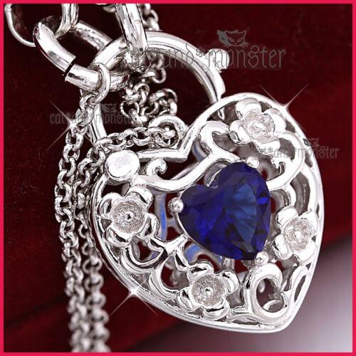 9K WHITE GOLD GF BLUE QUARTZ SAPPHIRE BELCHER HEART PADLOCK BANGLE BRACELET GIFT