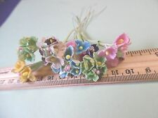 TINY OLD FASHIONED VELVET FLOCKED FLOWERS~LOTC~MULTI COLOR MIX~40~DOLL MILLINERY