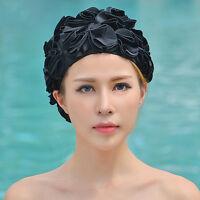 Women Ladies Vintage Style Floral Flower Adult Swimming Swim Cap Bathing Hat