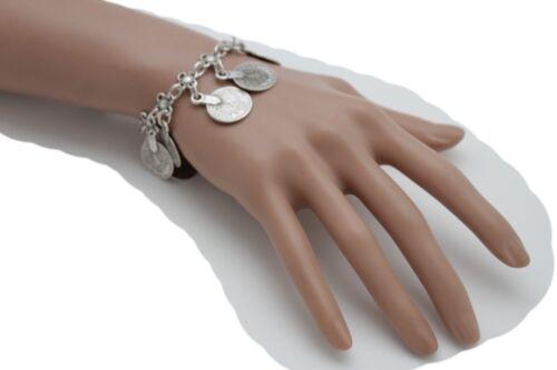 Antique Vintage Silver Metal Wrist Bracelet Fashion Jewelry Coin Flower Charms