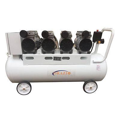 241187 Workshop Garage 90 Liter Silent Oilless Air Compressor 4 Motors 2200W