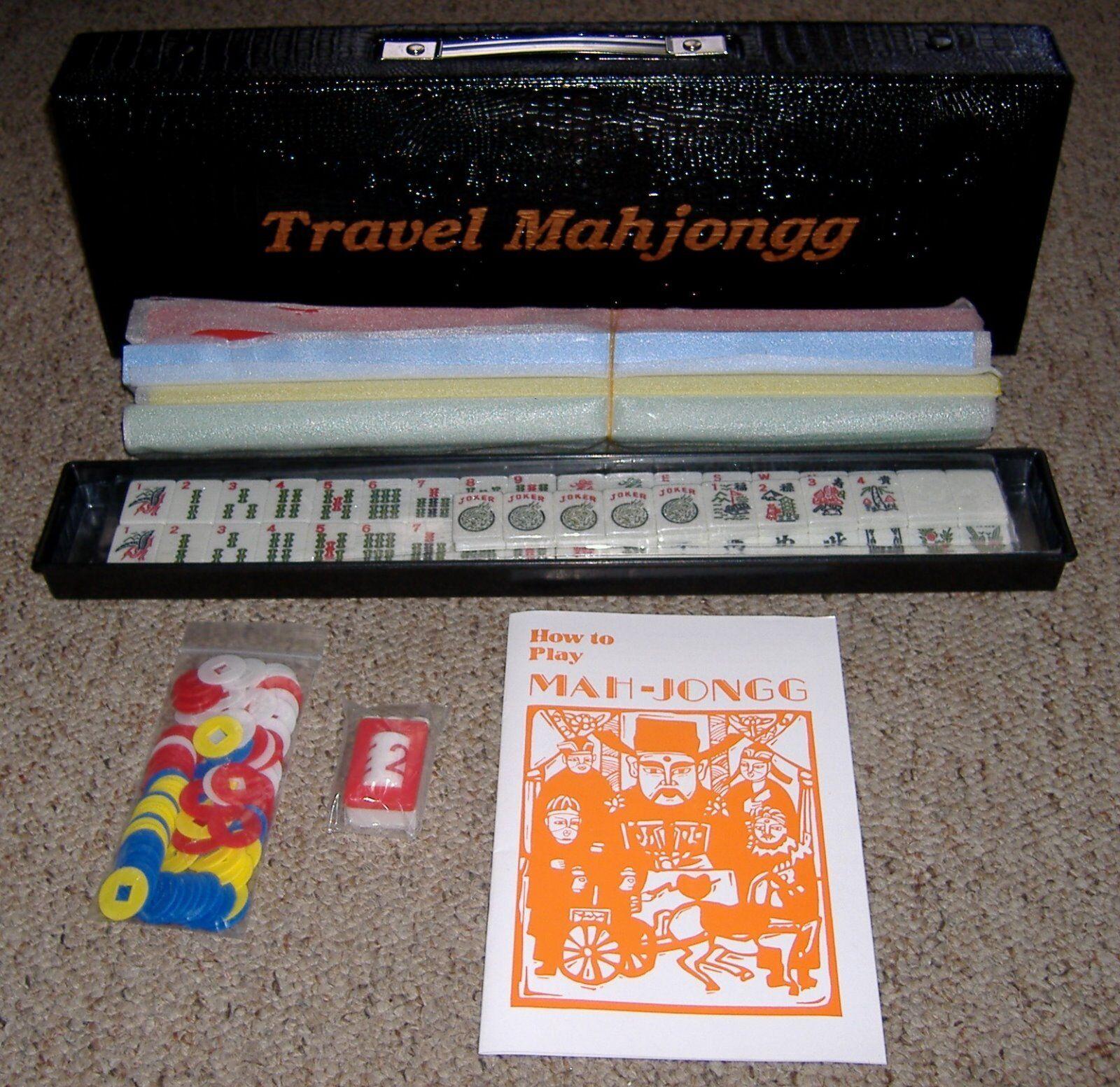 Mah - jongg spiel reisen in faux croc transportbox - neu