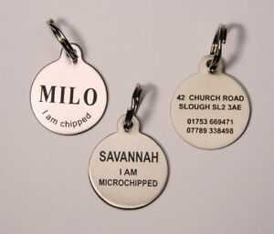 Dog-Tag-Pet-ID-Tag-Dog-Disc-Stainless-Steel-Laser-engraved-both-sides-FREE-POST