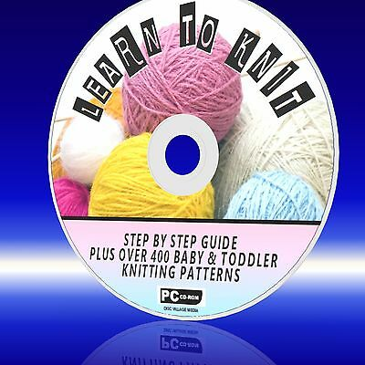 HOW TO KNIT BEGINNERS STEP BY STEP GUIDE 400 BABY KNITTING PATTERNS PC-CD NEW