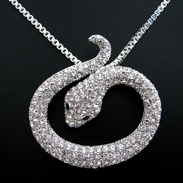 Full Crystal White Snake Use Austria Crystal Necklace