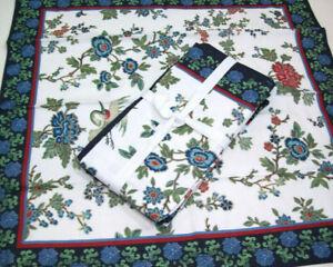 Williams-Sonoma-Crane-Bird-Floral-Cotton-Dinner-Napkins-Set-of-4-New