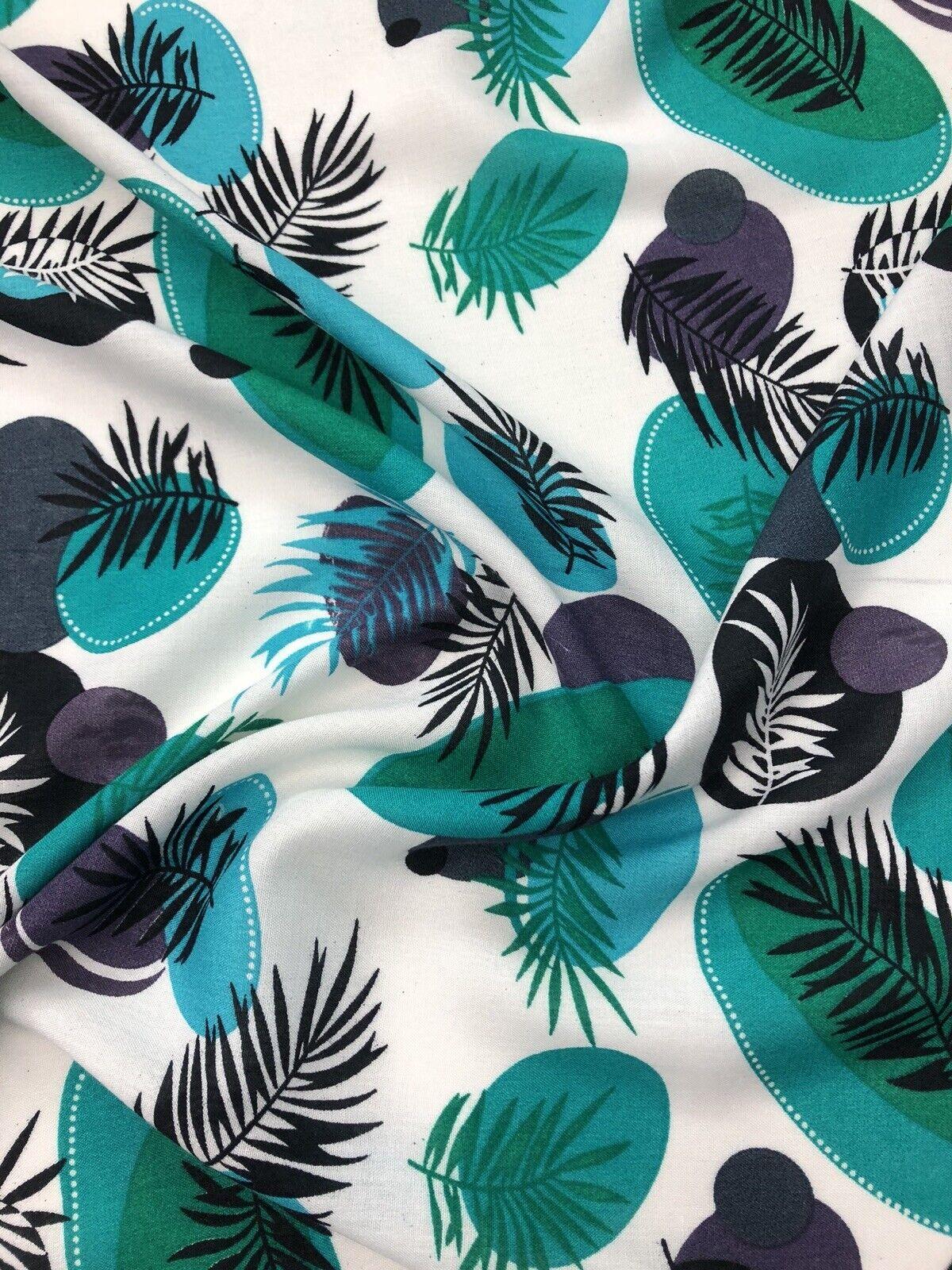 Designer Soft Viscose Leafs /& Feather Print Multicolour Dress Craft Fabric