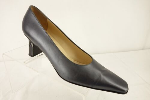Square Italian Toe tacco Blue Aa Metallic Leather 8 Scarpe Ferragamo Pumps con donna xqwTAgE