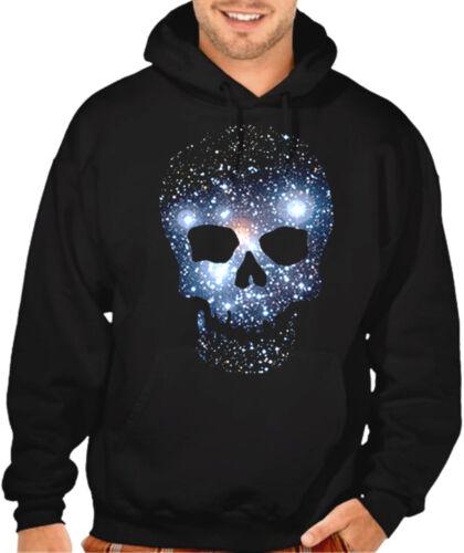 New Space Skull Stars Galaxy Men/'s Black Hoodie sweatshirt Halloween Rave Weed