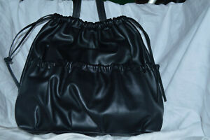 French-Connection-Dane-Drawstring-Tote-Black-Leather-Women-039-s-Bag-NWT