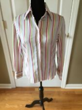 Etro Milano ITALY Striped Button Down Blouse Shirt Top 44 White Pink Green purpl