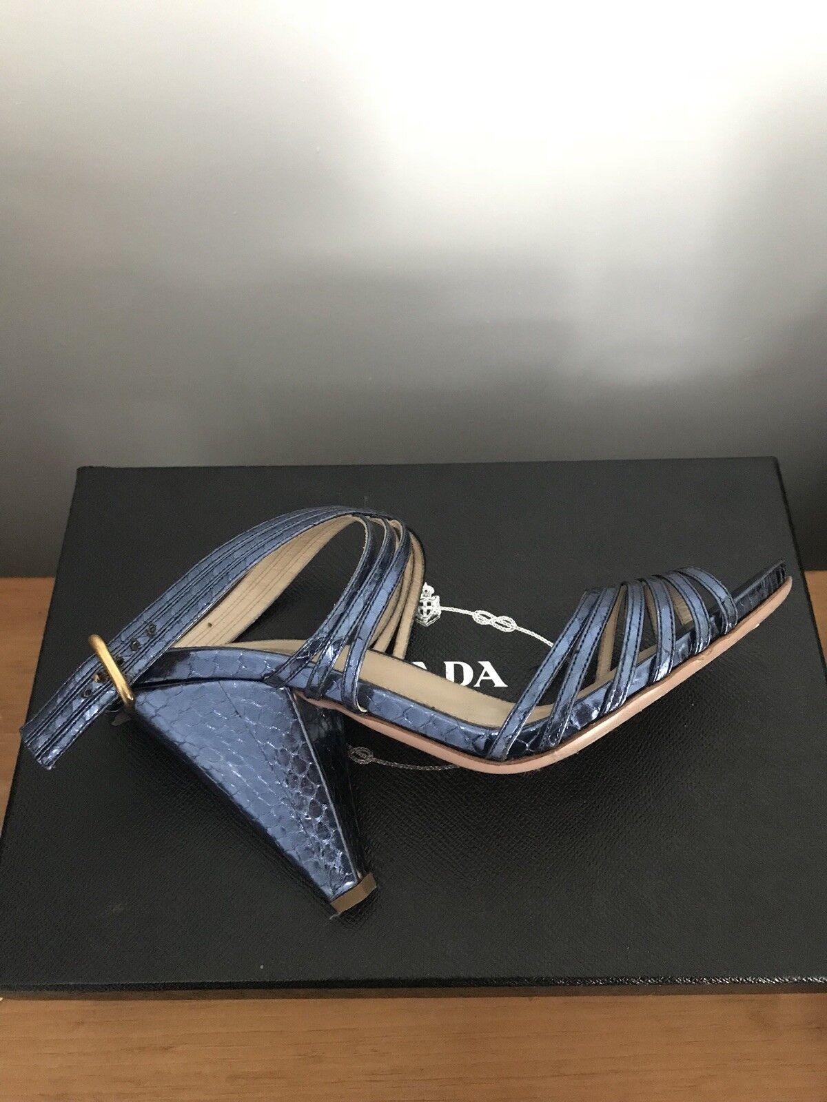 Electric Blau PRADA Schuhe snakeskin strappy wedge platforms high heels Schuhe PRADA 40.5 10.5 f9c13b