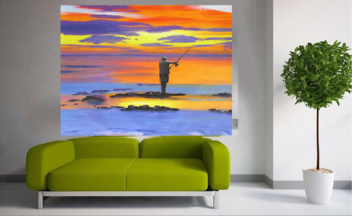 Painting Fishing Fisherman Kunst signed sunset Bush canvas Australia ocean