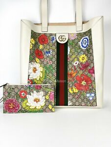 Gucci Ophidia GG Flora Large Shopping Tote bag with Entrupy