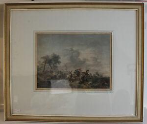 Pietro-Antonio-Martini-Schlachtenszene-kolorierter-Kupferstich-1774-Kunst-sf