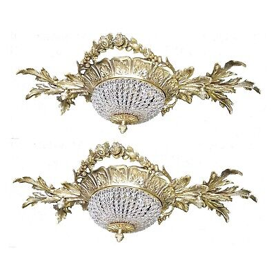 2 Gilded Brass Antique Replica Crystal Chains French Empire Ornate Wall Sconces
