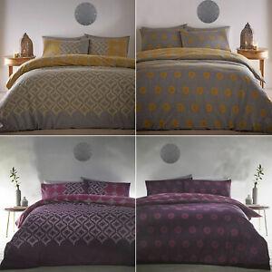 Abstract Spot Diamond Reversible Duvet Cover Set Grey Mustard Yellow Purple Pink Ebay