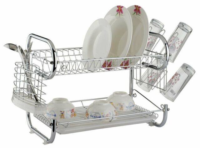 Chrome Kitchen Dish Cup Drying Rack Drainer Dryer Tray Cutlery Holder Organize