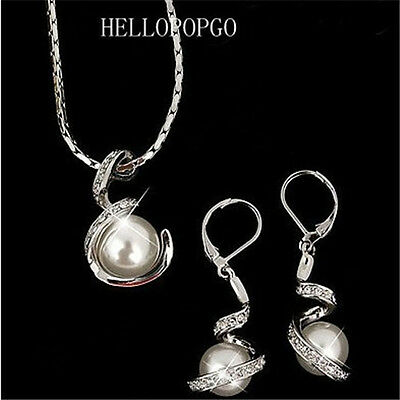 18k White Gold Gp Austrian Crystal White Pearl Necklace&Earrings Sets BR1308