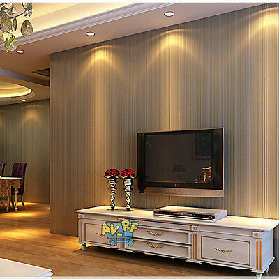 10m Simple Modern Non-woven Damask Textured Embossed Wallpaper Rolls Home Decals
