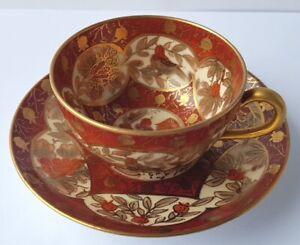 Mocha-Cup-Saucer-Bird-Hand-Painted-Boseck-Haida-Bohemia-Um-6233-7-12ft772