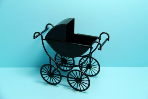 Dollhouse Miniature Metal Baby Carriage Stroller in Black T8432