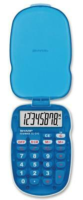 Sharp Elsimate 8 Digit Blue Palm Sized Battery Operated Calculator Hard Cover