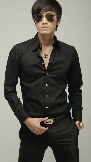 Men's Luxury Casual Formal Stylish Slim Fit Long Sleeve Dress Shirts Tops 4Sizes