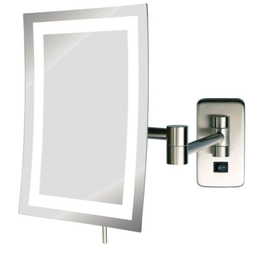 6 x 9 in Bathroom Makeup Mirrors Frameless Wall Mounted 5X LED Lighted Nickel