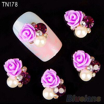 10x Hot 3D Rose Flower Nail Art Stickers Studs Shiny Metallic Rhinestone Jewelry