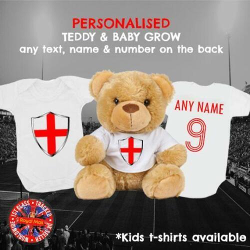 Angleterre Inspired Football Babygrow /& Teddy Bear personnalisé Assorti Ensemble Cadeau,
