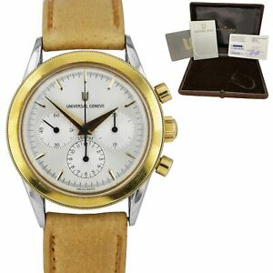 1995 Universal Geneve Compax Chronograph 284.460 18K Gold Steel Watch BOX PAPERS