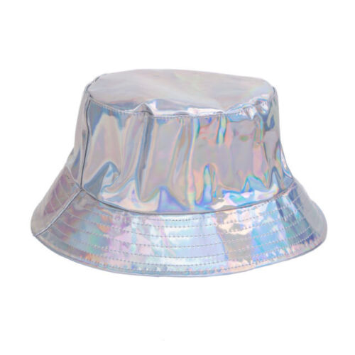 Shiny Holographic Bucket Hat Gold Silver Rave Festival 90/'s Student Party Techno