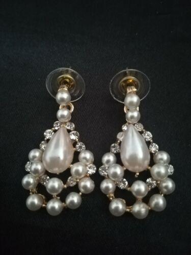 Moda Pendientes de Perlas y Cristal