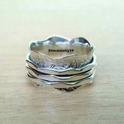 925 Sterling Silver Spinner Ring Wide Band Meditation Statement Jewelry B12