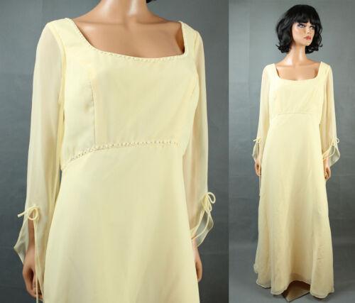 Bell Sleeve Dress Sz 16 XL Yellow Chiffon Renaissa