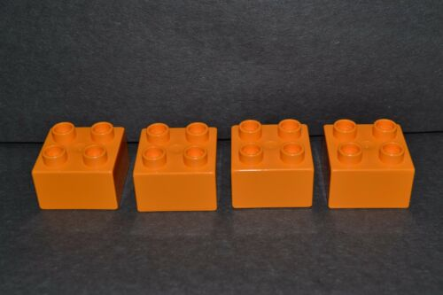 2X2 combined shipping lot of 4 orange Duplo blocks
