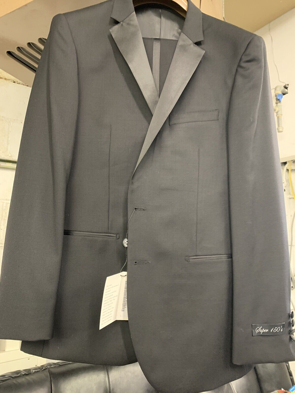 New 42R Men's Black Tuxedo 100% Wool Super 150 Made in Italy Retail