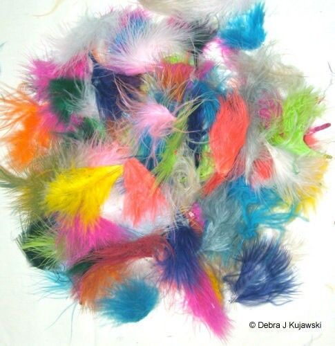 """Marabou Feathers Fluffy 1//4 lb 1-3/""""  29 colors available Approx 1680 per bag"""