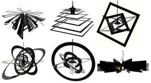 Lampe-suspendue-034-Abstrait-034-NOIR-ROUGE-FLEUR-ROND-Spiral-nombreux-VARIANTES
