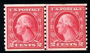 USAstamps Unused VF US 1916 Washington Perf 10 Line Pair Scott 492 OG MNH