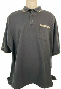 Vintage Men Size 2XL Motor Harley Davidson Cycles Gray Pocket Button Polo Shirt