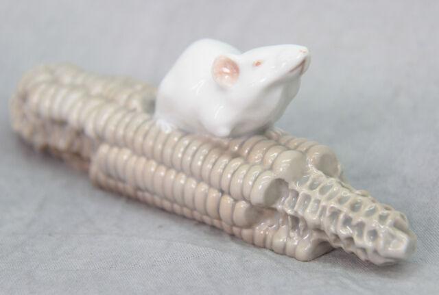 Royal Copenhagen weisse Maus auf Maiskolben Porzellan Figur- RAR -
