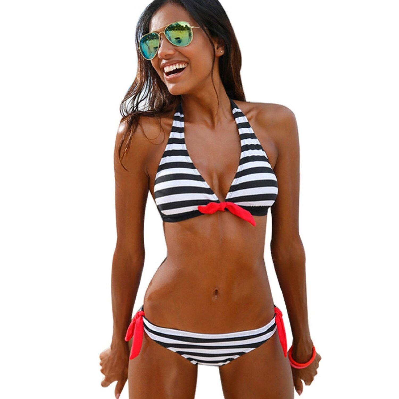 Kariert Trägertop Bikini Set Sexy Damen Brazilian Badeanzug Sommer Beachwear