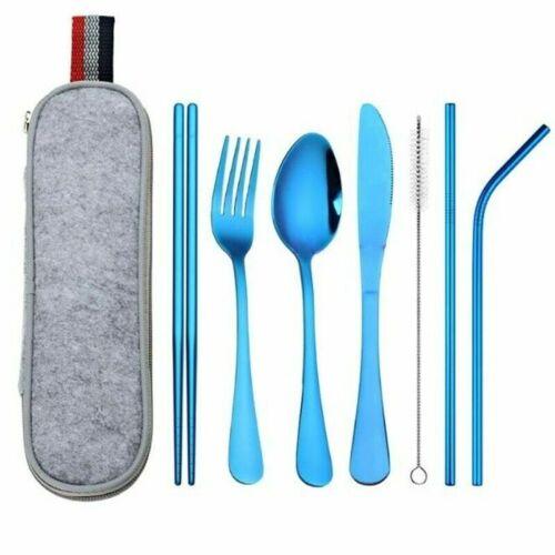 Dinnerware Set Stainless Steel Reusable Spoon Fork Chopstick Straw Portable Case