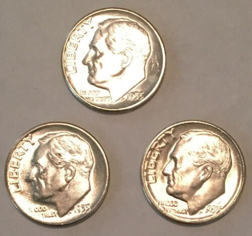 1955 P D S and Proof Silver Roosevelt Dime 4 coins included CP1589